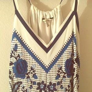 Summer blue and white knee length dress